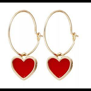 Jewelry - GOLD RED LEATHER HEART HOOP EARRINGS MINIMALIST